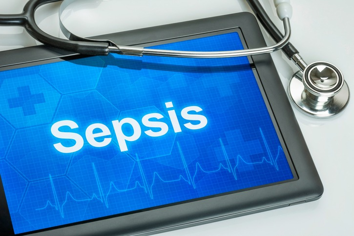 Tablet with the diagnosis Sepsis on the display