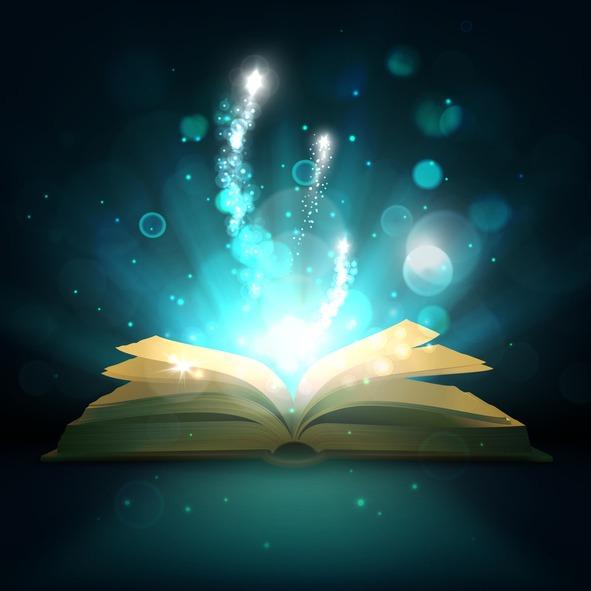 Open magic book, vector light sparkles