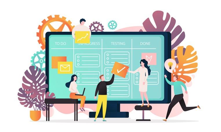 Kanban vector concept for web banner, website page