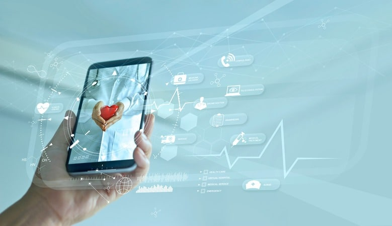 Healthcare, Doctor online and virtual hospital concept, Diagnostics and online medical consultation on smartphone, Communication with patient on network, Innovative and  medical technology.