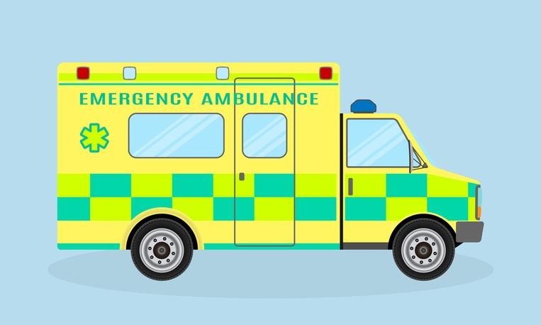 Ambulance vehicle. Emergency medical service car, side view. Paramedics hospital transport with health symbol.