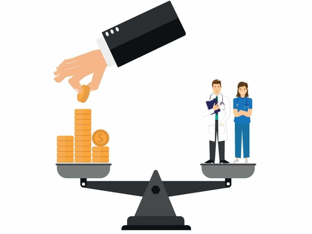 balance-money-and-health-concept-health-care-costs-pile-of-money-on-vector-id1281154073