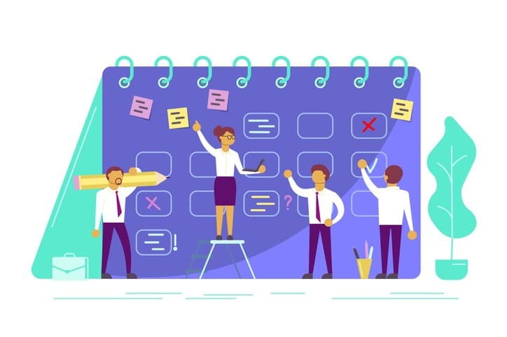 Planning schedule concept vector illustration in flat style