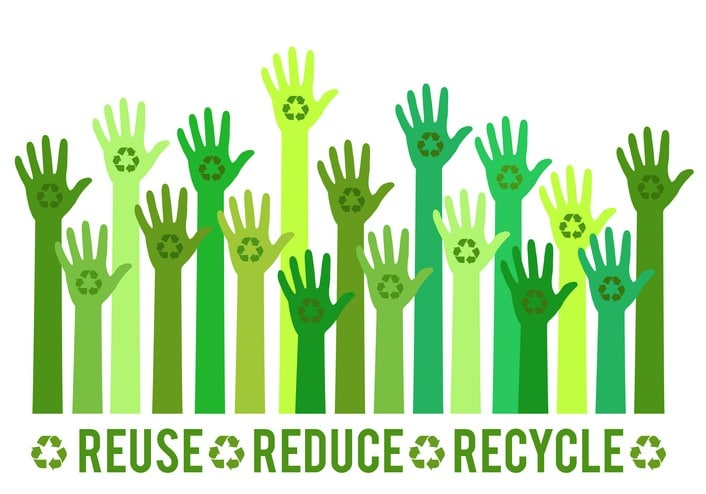Hands with green recycling sign, vector