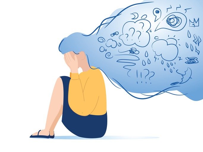 Mental disorder, finding answers, confusion concept. Woman suffering from depression, closing face with palms in despair