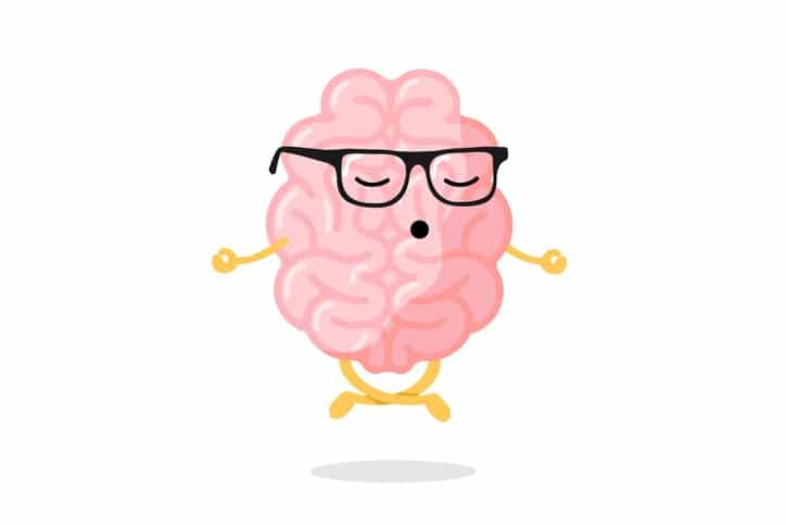 Cute cartoon smart human brain character with glasses relaxation meditate concept. Central nervous system organ meditation in lotus yoga pose. Relax concept vector illustration