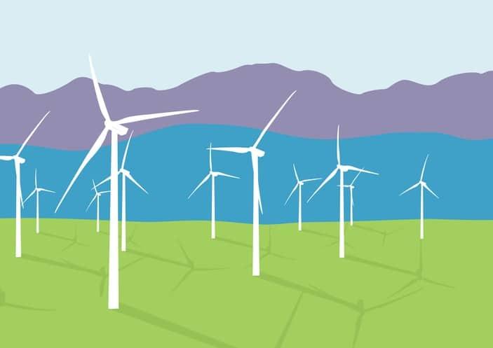 Group Of Wind Turbines In A Field Landscape