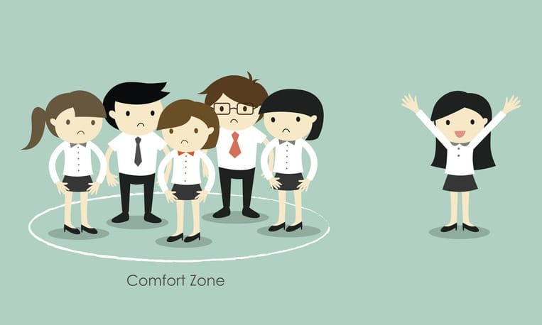 Business concept, Business woman standing out of the comfort zone.