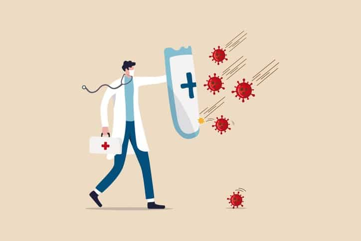 Fight and protect COVID-19 Coronavirus outbreak concept, Doctor wearing sanitary mask with stethoscope holding protective shield with red cross symbol to protect from COVID-19 coronavirus pathogens.