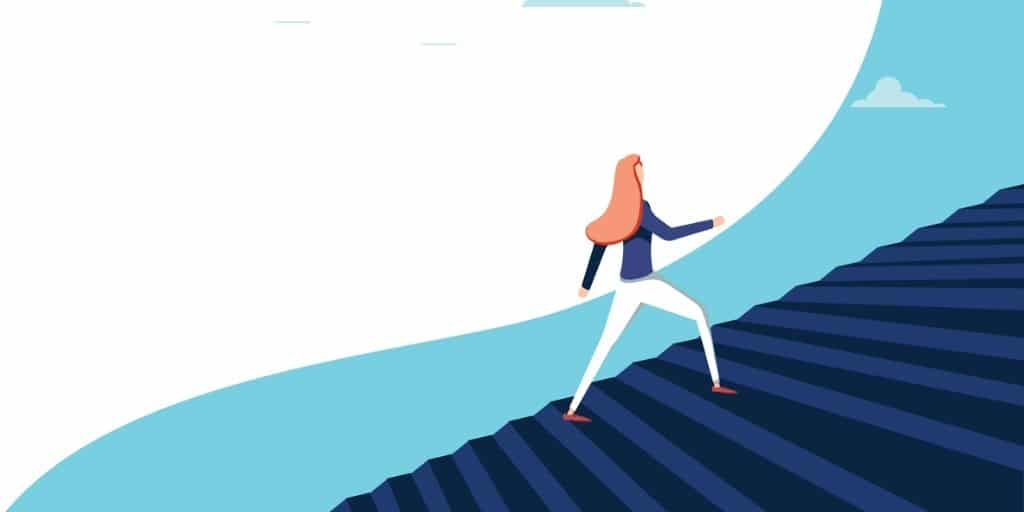 buisnesswoman-climbing-career-steps-vector-concept-symbol-of-ambition-vector-id1092269544