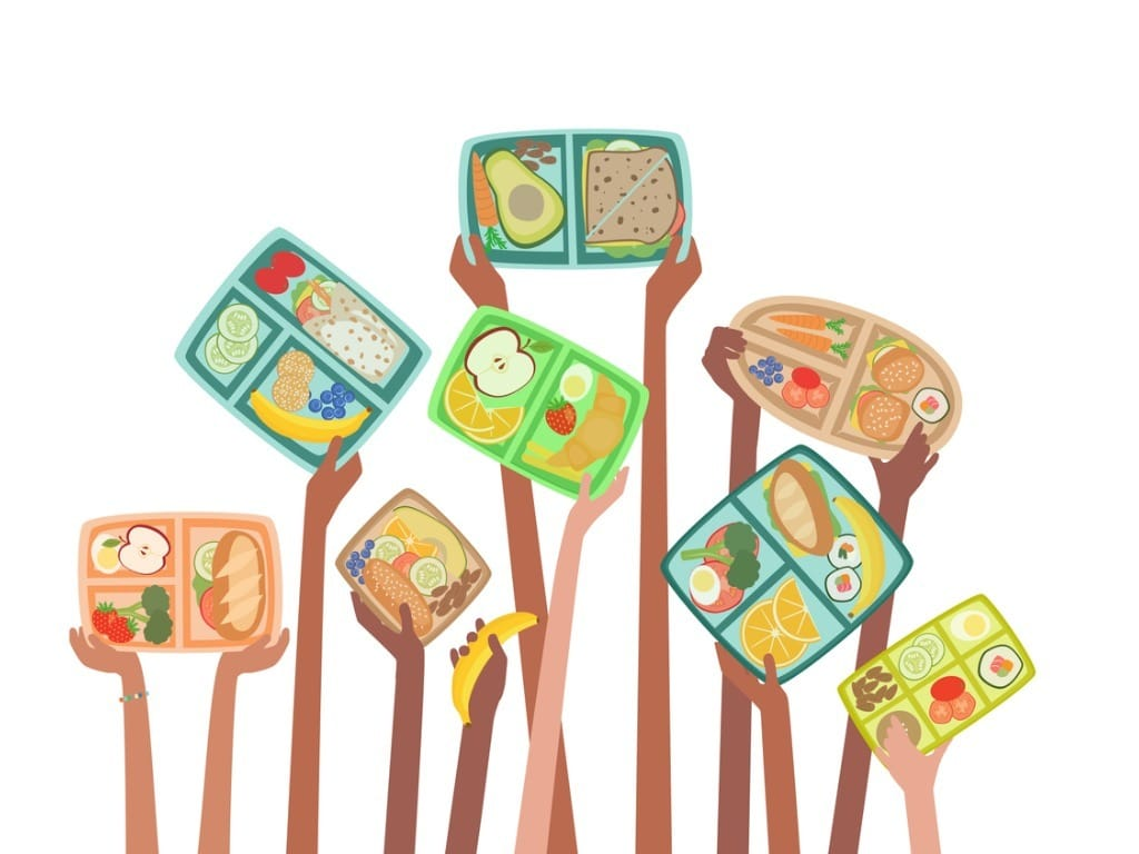 children-hands-holding-up-lunch-boxes-with-healthy-lunches-food-vector-id1189614707