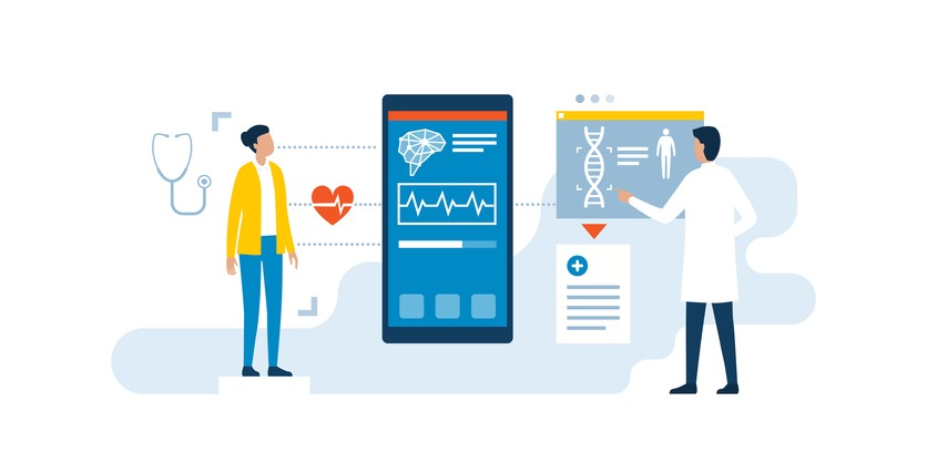Doctor using medical apps to examine a patient