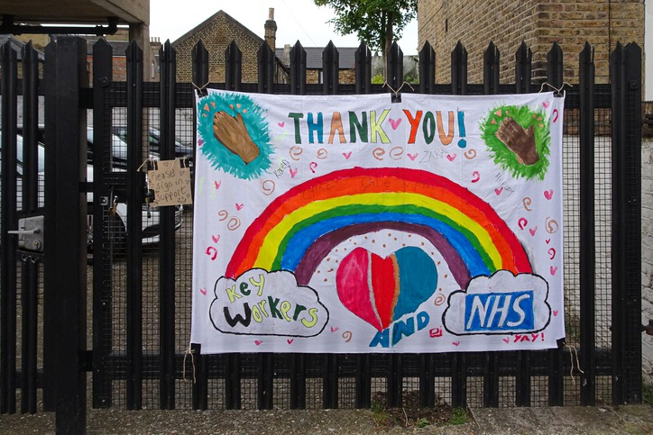 Large banner with rainbow as a sign of gratitude to NHS and essential workers displayed