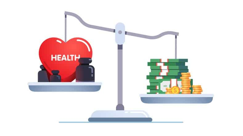 Money & health balance. Health care and treatment costs contradiction conflict. Healthcare, wealth earning on scales. Stack of cash versus red heart on scale. Flat vector illustration