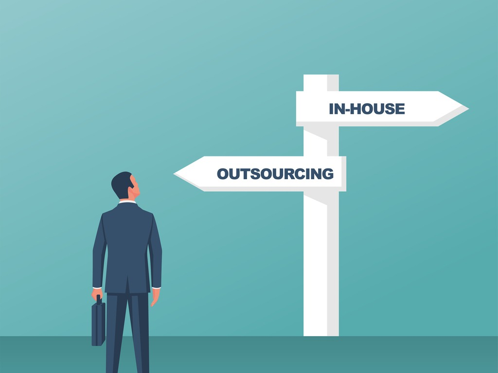 outsource-or-inhouse-signpost-businessman-in-front-of-a-road-sign-vector-id1181242623