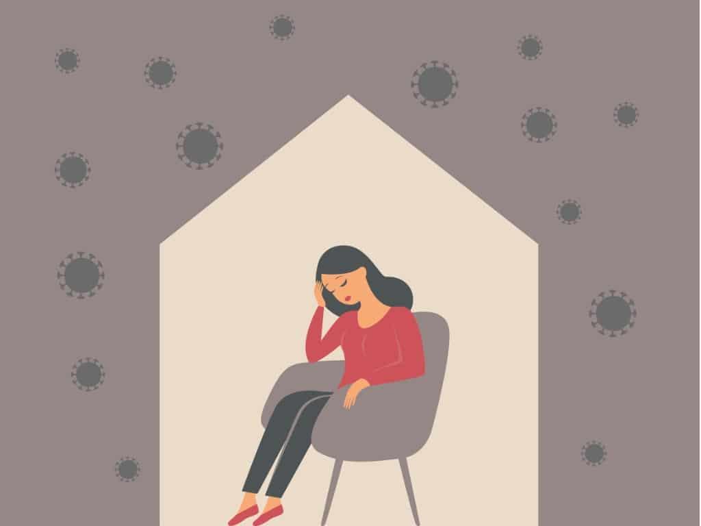 the-psychological-impact-of-coronavirus-quarantine-lockdown-woman-vector-id1224451784