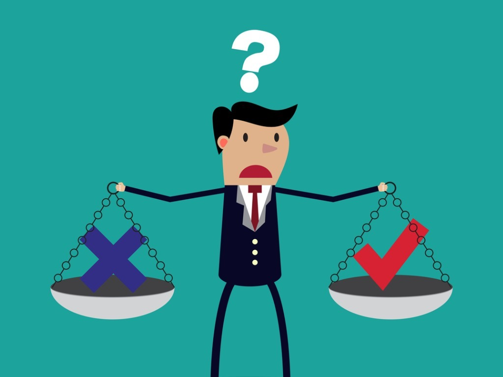 cartoon-businessman-balancing-cross-and-tick-symbol-vector-id496213580