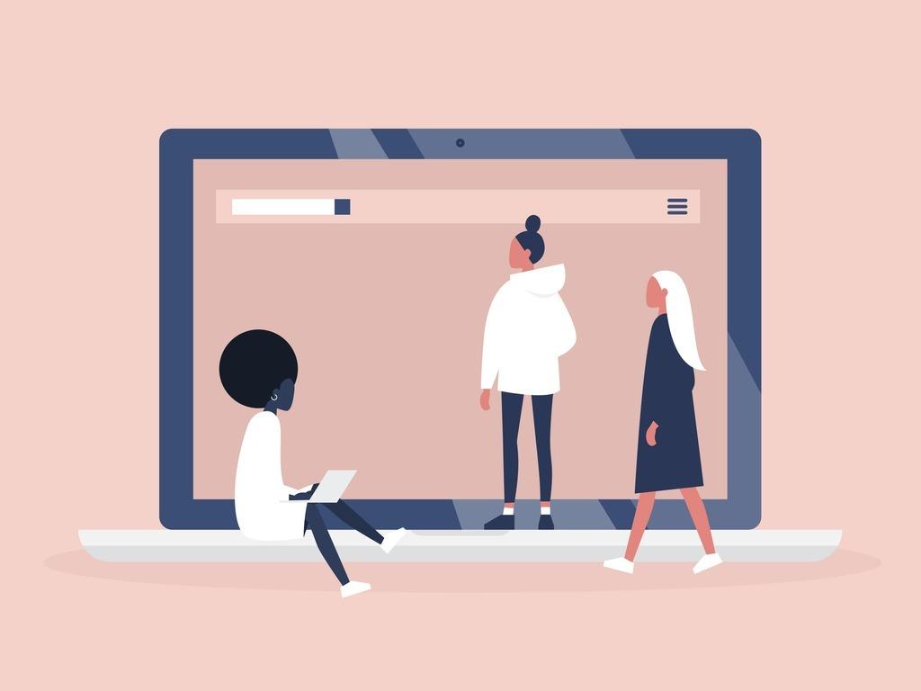 feminism-womens-platform-website-female-community-laptop-screen-for-vector-id1061262324