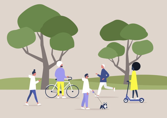 A diverse crowd of people walking and doing sports in a public space, summer outdoor leisure, recreation