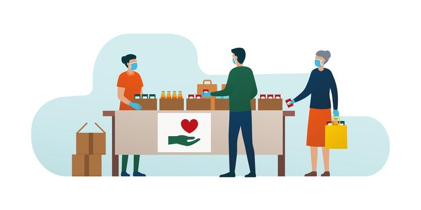 Volunteer distributing food to people during coronavirus covid-19 epidemic
