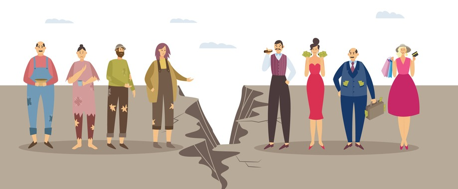 Imbalance, discrimination, inequality in human society a vector illustration