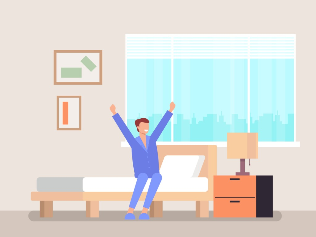 man-character-waking-up-and-sitting-in-bed-and-stretching-good-vector-id1144226225