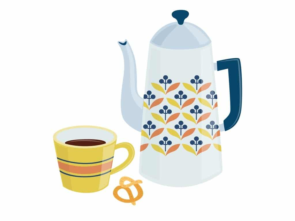 swedish-teatime-or-fika-card-with-cup-and-teapot-flat-vector-vector-id1285662225