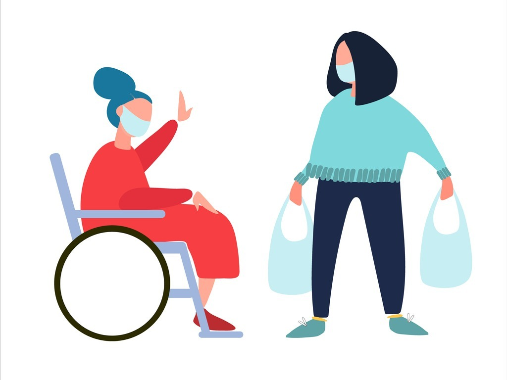volunteer-helps-disabled-old-woman-with-shopping-and-dog-walking-vector-id1217827339