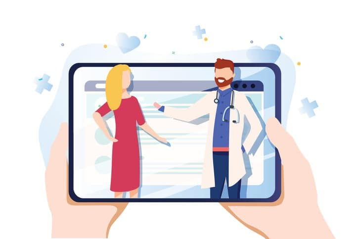 Vector illustration in simple flat style – online and tele medicine concept – hands and screen with app for healthcare