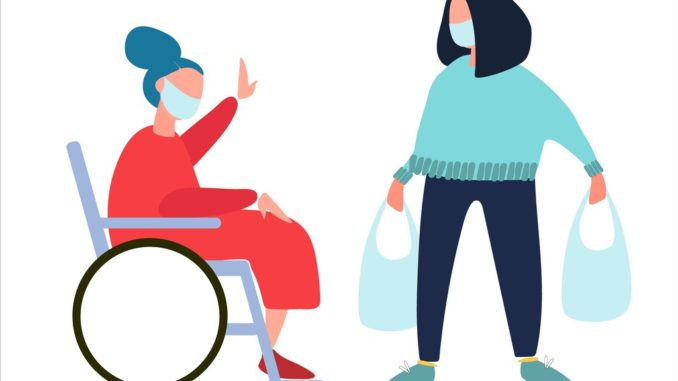 volunteer-helps-disabled-old-woman-with-shopping-and-dog-walking-vector-id1217827339-678×381 (1)
