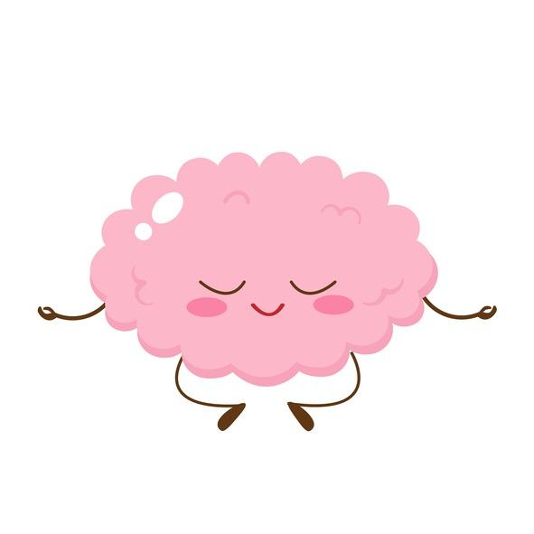 Cartoon cute human brain meditating