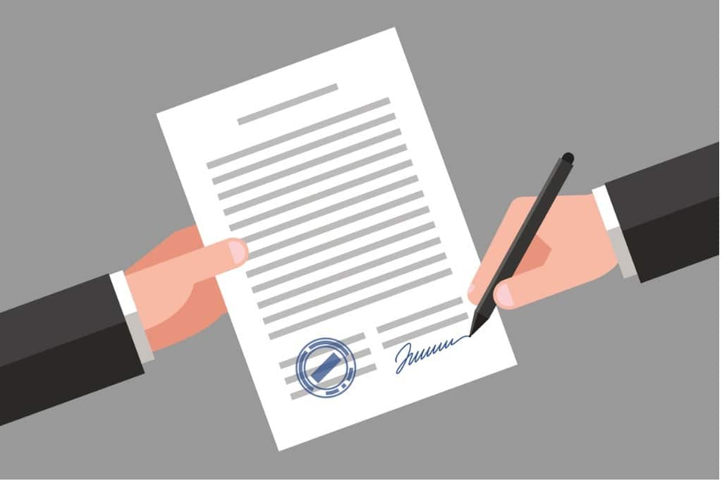 signing-of-business-document-vector-id818607424