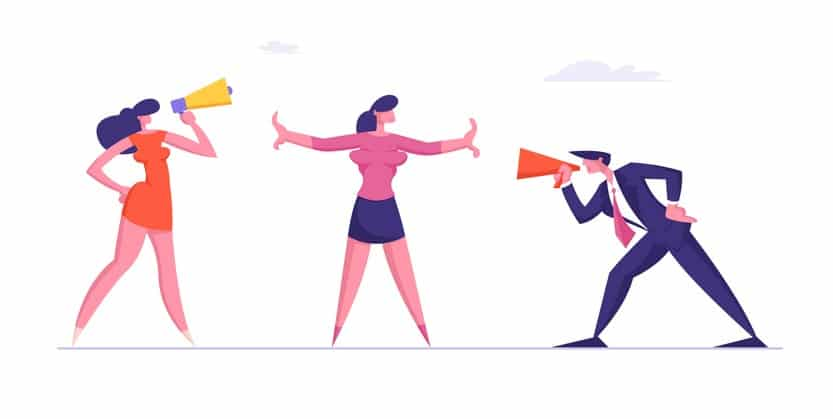 Confrontation in Business. Man and Woman Arguing and Yelling in Megaphone to Each Other. Colleague Trying to Stop Aggressive Coworkers Verbal Fight. Conflict People. Cartoon Flat Vector Illustration