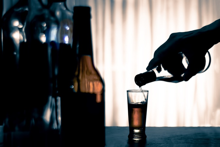 Anonymous alcohol addiction, depression. Alcoholism concept