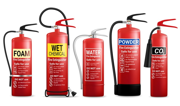 Realistic fire extinguisher set, vector isolated illustration