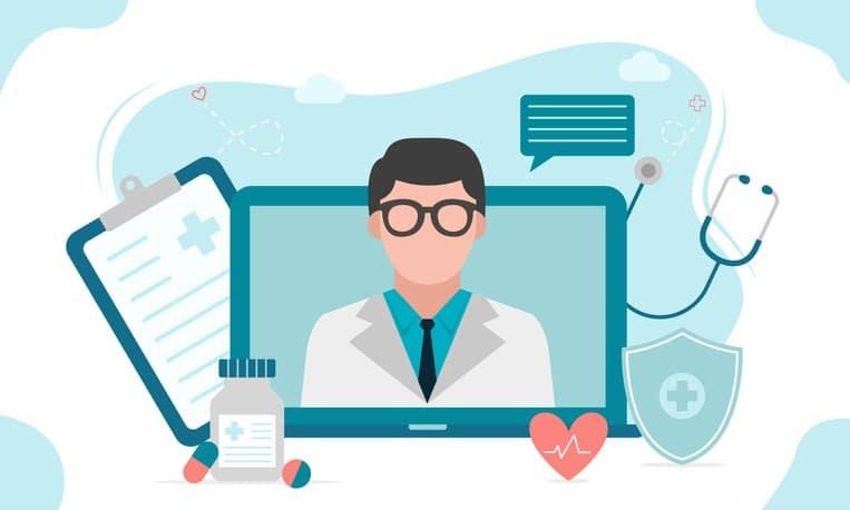 Online medical consultation or Doctor online concept .Concept for medical app and websites. Flat vector illustration.