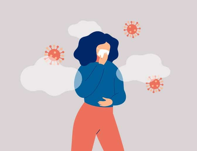 Sick woman surround microbes is wearing face mask.