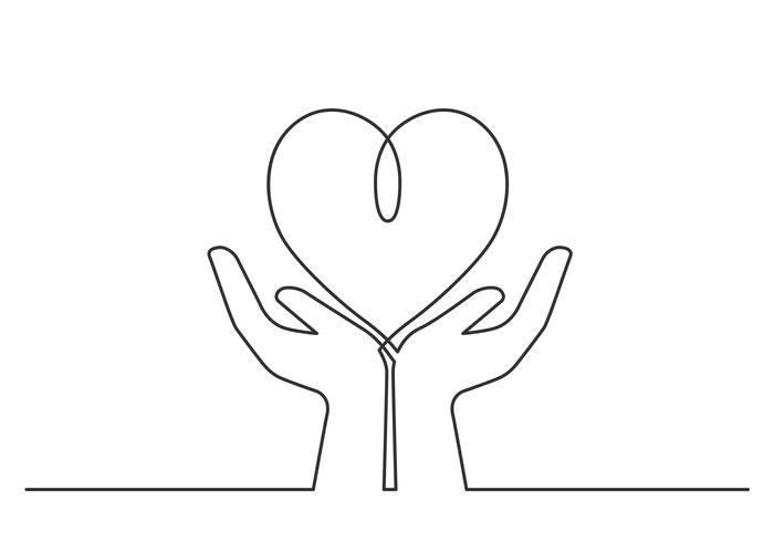Hands heart one line