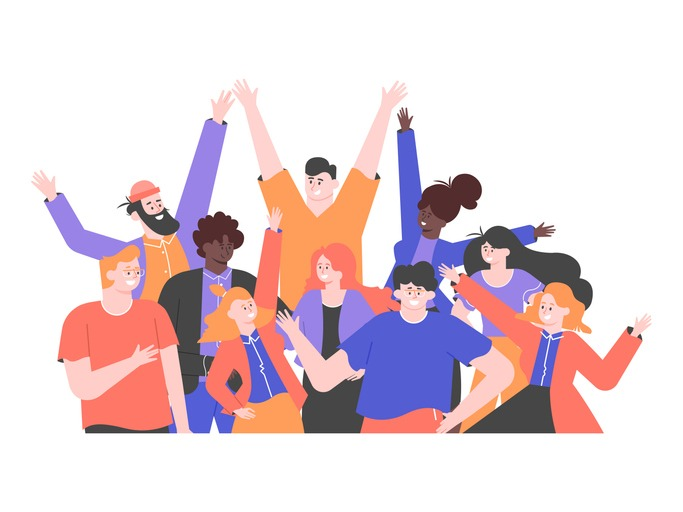 Multicultural group of people is  standing together. Team of colleagues, students, happy men and women. Multinational society. Friendship, teamwork and cooperation. Vector flat illustration.