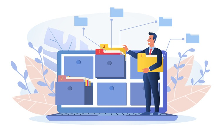 Businessman using an online database