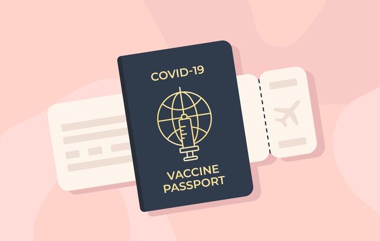 Covid-19 immune passport and boarding pass. Coronavirus vaccination certificate. New normal.