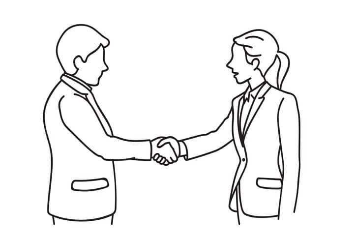 Businessman woman making a deal