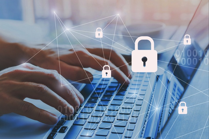 Internet security and data protection concept, blockchain.