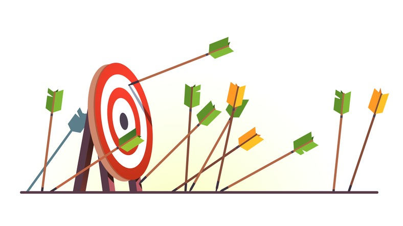 Many arrows missed hitting target mark. Shot miss. Multiple failed inaccurate attempts to hit archery target. Business challenge failure metaphor. Flat vector illustration