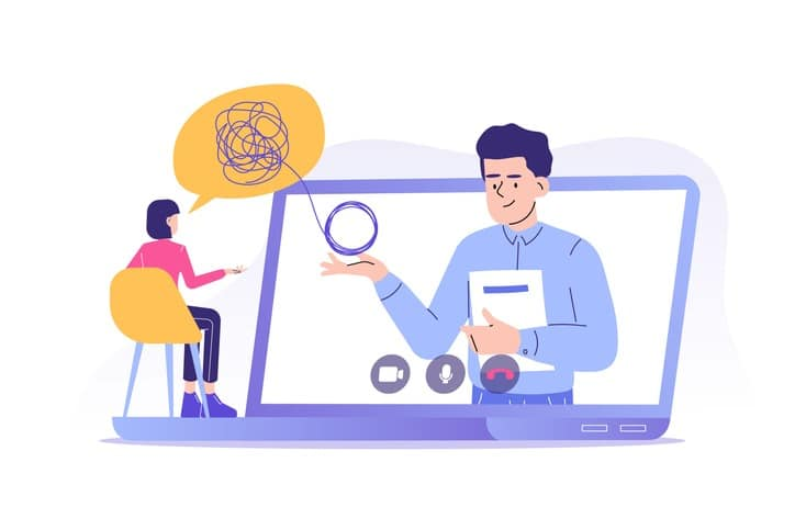 Online psychotherapy concept. Male psychotherapist helping patient by video call. Woman talking to psychologist. Psychological counseling services. Therapy session. Isolated modern vector illustration