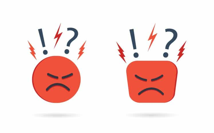 Angry and hate icon. Difficult, bad customer. Negative opinion and experience from client. Unhappy mood on face. Concern, furious and pessimism. Feedback from user. Emoji reaction concept. Vector