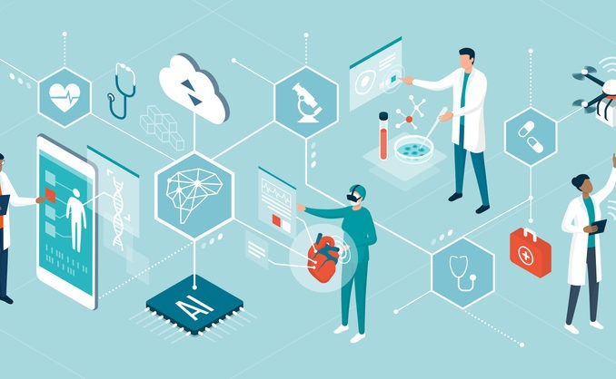 Doctors and researchers using innovative technologies for medicine and healthcare: artificial intelligence, virtual reality, drones, stem cells and digital organs