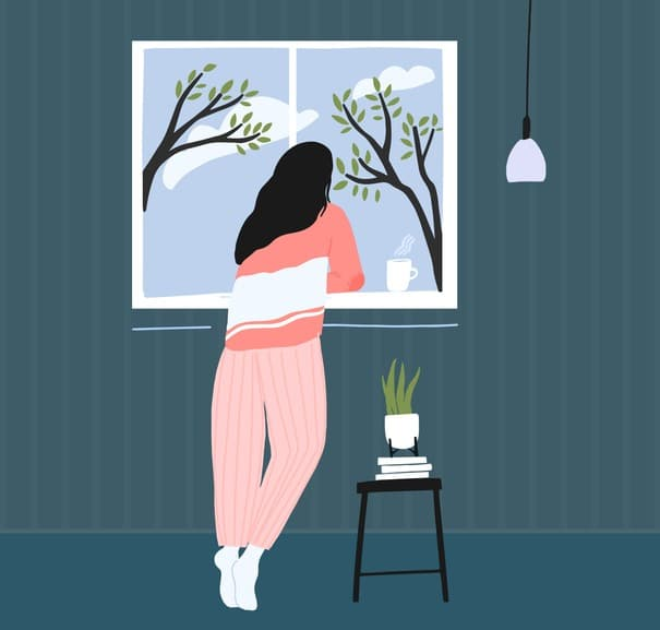 Young woman at home longing at window. Spring landscape outside, blue sky with clouds and trees. Cozy pink pajama. Self isolation concept illustration.