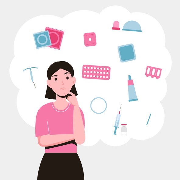 girl choosing a method of contraception concep
