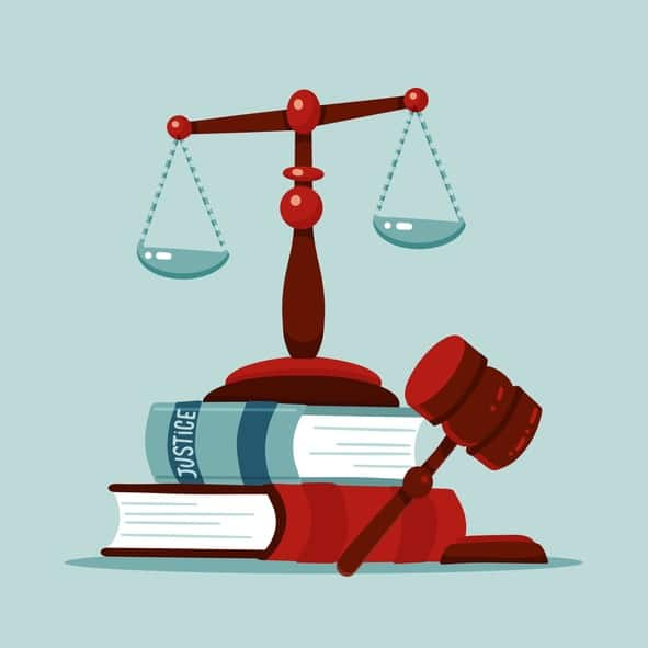Justice scales and wooden judge gavel concept. Law hammer sign with books of laws. Legal law and auction symbol. Classic court Libra. Flat Vector illustration.
